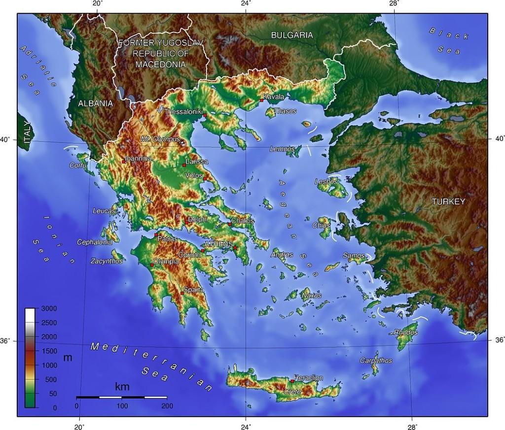 Topografisk karta över Grekland